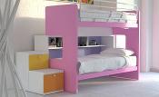 letti a castello con possibilità di spostamento del letto dalla pedana