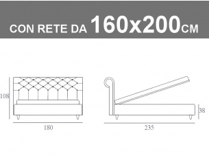 Misure del letto imbottito capitonnè Noctis Paris con rete a doghe da 160x200cm