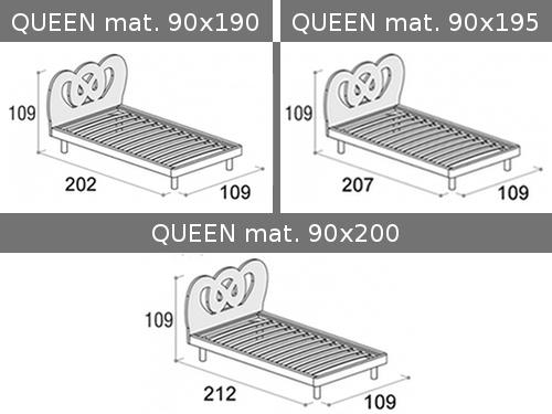 Misure del letto singolo Doimo Cityline modello Queen con rete a doghe