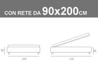 Misure del letto sommier di Noctis con rete a doghe e contenitore da 90x200cm
