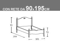 Schema letto Rondine singolo con rete da 90x195cm