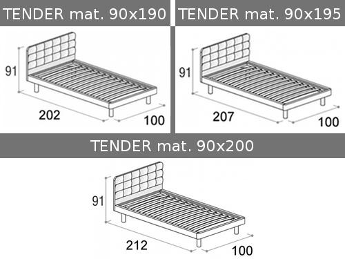 Dimensioni del letto con rete a doghe singola Tender di Doimo Cityline