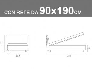 Misure del letto singolo Noctis Bed London con rete a doghe da 90x190cm