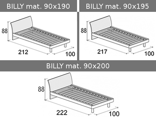 Misure disponibili per il letto singolo Doimo Cityline Billy