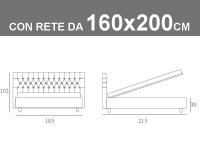Misure del letto Noctis matrimoniale modello Dizzy capitonnè con rete a doghe e contenitore da 160x200cm