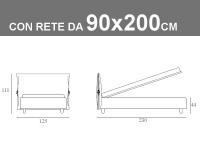 Misure del letto singolo imbottito con rete a doghe da 90x200cm Noctis Eden
