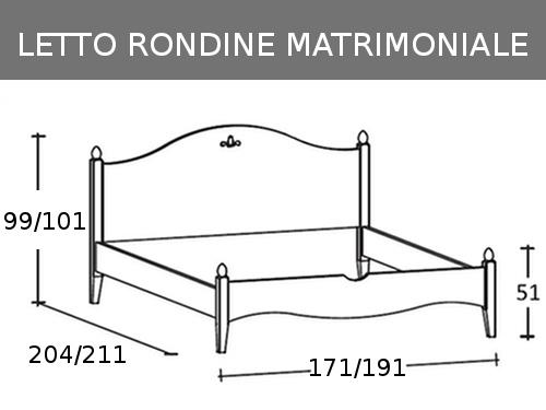 Misure del letto matrimoniale in legno massello Rondine