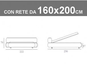 Misure del letto matrimoniale imbottito Noctis States con rete a doghe e contenitore da 160x200cm