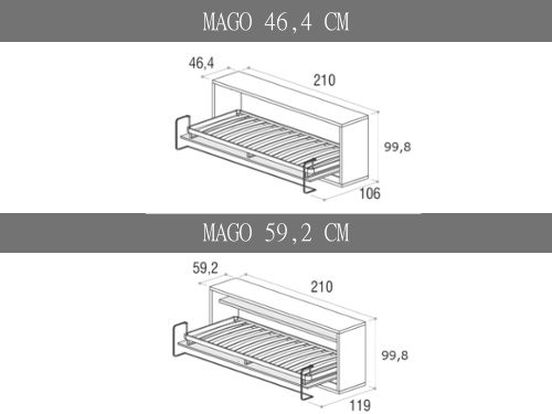 Misure del letto a scomparsa orizzontale Mago singolo