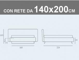 Misure del letto imbottito alla francese con contenitore e rete a doghe da 140x200cm Noctis Doxy