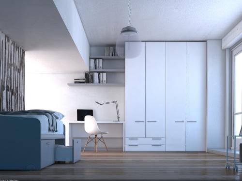 Cameretta completa KOP 01 composta da armadio a 4 ante, scrivania lineare e letto con cassettoni