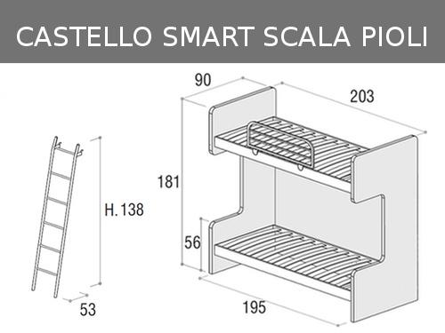 Misure del letto a castello fisso con reti a doghe e scaletta a pioli Doimo Cityline modello Smart