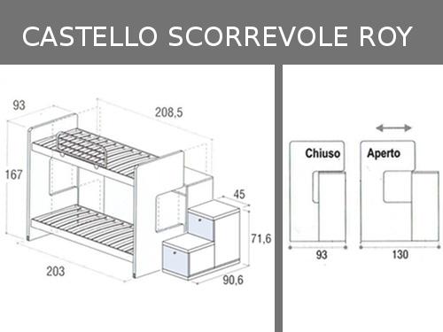 Misure del letto a castello scorrevole Doimo Cityline modello Roy