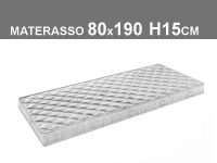 materasso 190x80 H15cm cm in poliuretano espanso con rivestimento trapuntato