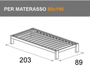 letto Sommier con giroletto Bit, per materasso da 80x190cm