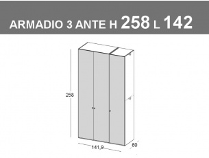 Armadio con 3 ante battenti H.258cm L.141,9cm