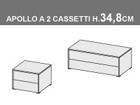 comodini Apollo a 2 cassetti, altezza totale 34,8cm