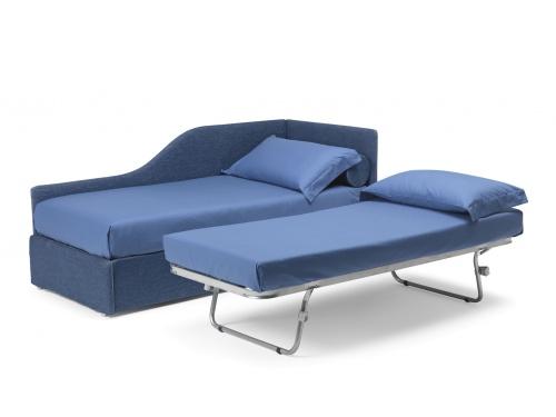 Divanetto imbottito con angolo sagomato in versione sinistra, modello Noctis Space con rete estraibile manuale per trasformare all occorrenza un letto singolo in un matrimoniale