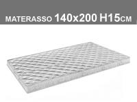 materasso 140x200 h.15cm in poliuretano espanso con rivestimento trapuntato