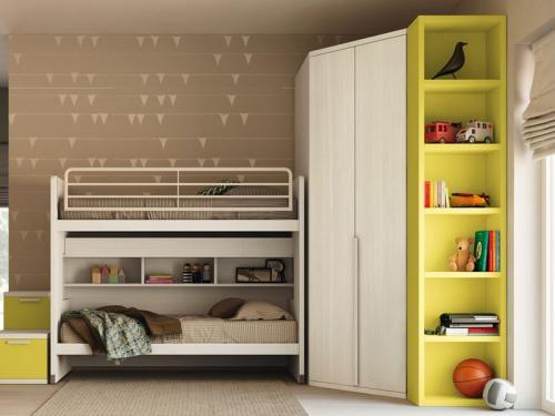 Cameretta doppia con libreria cabina armadio e castello scorrevole Cityline