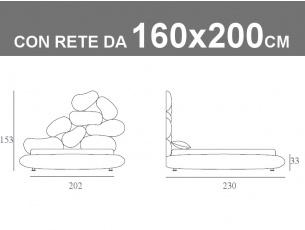 Misure del letto matrimoniale imbottito con testata unica nel suo genere Noctis Stones con rete a doghe e contenitore da 160x200cm