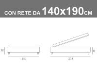 Misure del Sommier alla francese di Noctis con rete a doghe e contenitore da 140x190cm
