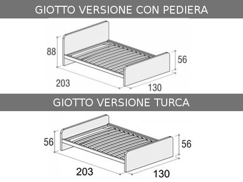 Dimensioni del letto da una piazza e mezza Giotto con seconda rete estraibile singola
