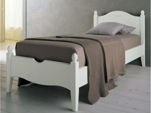 Letto in legno massello bianco modello Rondine singolo