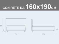 Misure del letto matrimoniale contenitore Noctis Bob Stripes con rete a doghe da 160x190cm