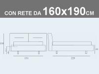 Misure del letto matrimoniale imbottito con contenitore e rete a doghe da 160x190cm Noctis Phill Capitonnè
