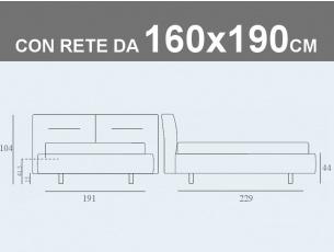 Misure del letto matrimoniale imbottito Noctis Phill contenitore con rete a doghe da 160x190cm