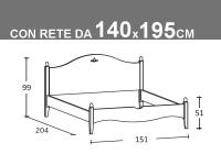 Schema Rondine matrimoniale alla francese con rete da 140x195cm