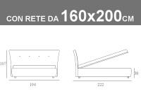 Misure del letto matrimoniale imbottito Noctis Zico con rete a doghe da 160x200cm
