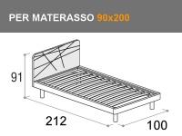 Letto moderno singolo Start con rete a doghe e giroletto Vip per materasso da 90x200cm