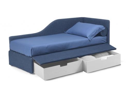 Divano letto imbottito con cassettoni su ruote, Noctis Space con rete a doghe da 80,90 o 100cm di larghezza disponibile in più forme