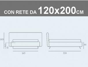 Misure del letto da una piazza e mezza Doxy contenitore folding Box con rete a doghe da 120x200cm