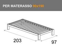 letto Sommier con giroletto Bit, per materasso da 90x190cm