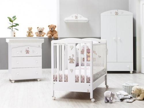 Cameretta per neonato Kuku con armadio fasciatoio e lettino
