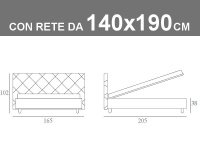 Misure del letto alla francese Noctis Guru con rete a doghe da 140x190cm