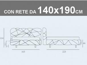 Misure del letto matrimoniale alla francese Noctis Marvin con rete a doghe da 140x190cm