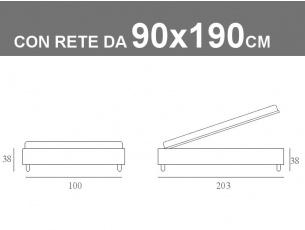 Misure del sommier di Noctis con rete a doghe da 90x190cm