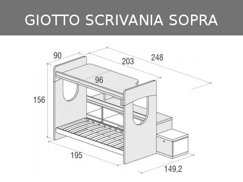 Misure del letto a castello Giotto con scrivania sopra