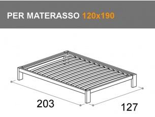 Letto Sommier da una piazza e mezza con rete a doghe per materasso da 120x190cm