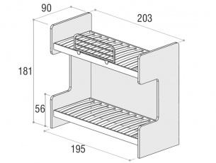 Misure del letto a castello Smart con 2 letti