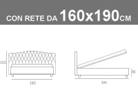 Misure del letto matrimoniale imbottito Noctis Dream Capitonè con rete da 160x190cm