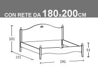 Schema Rondine matrimoniale con rete da 180x200cm