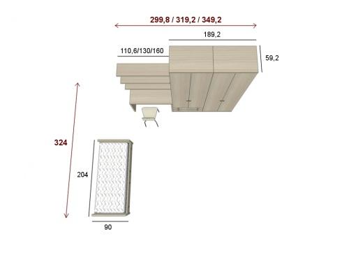 Misure della cameretta singola completa di armadio letto e scrivania KOP 01