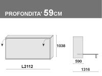 Letto a ribalta, prof. 59cm