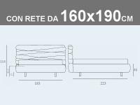 Misure del letto matrimoniale contenitore Noctis Andy con rete a doghe da 160x190cm