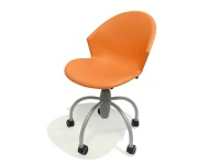 Sedia moderna su ruote in plastica modello Gim Arancio